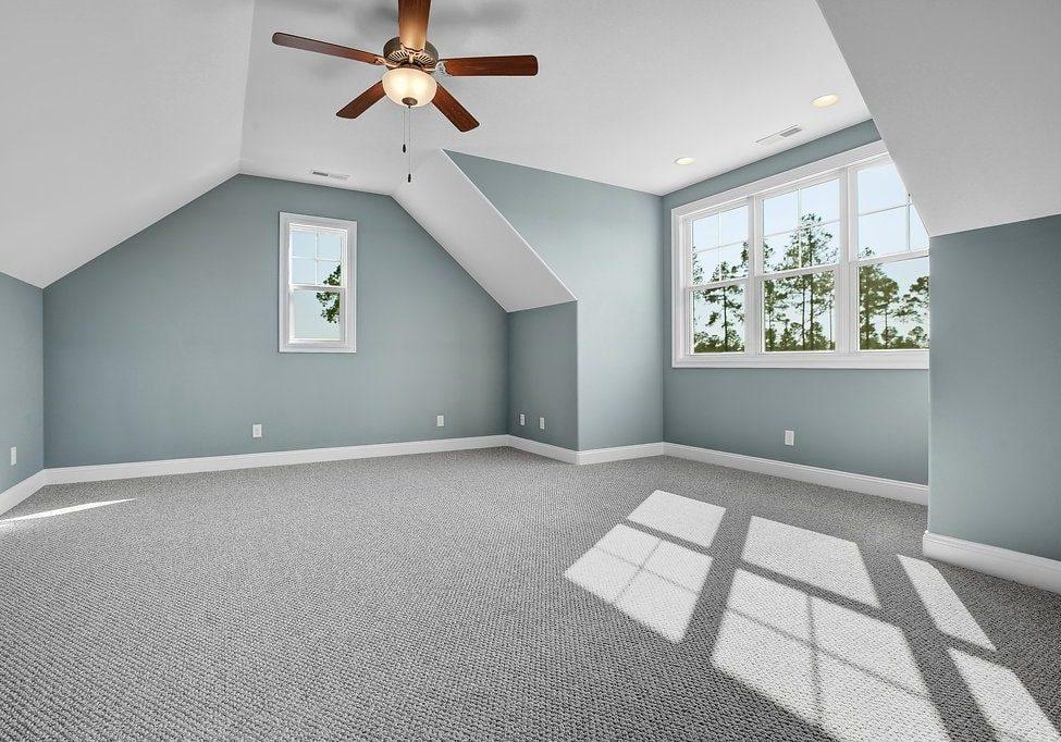 The upstairs bonus room had me planning my dream craft room!